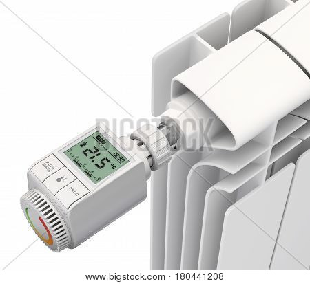 Digital thermostatic valve with radiator on white background - 3D illustration