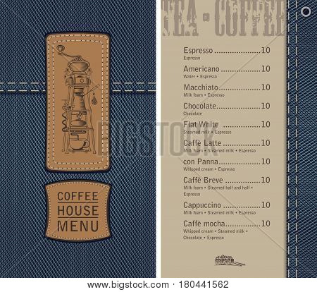 vector menu for coffee house on denim background with price list and a leather label with a picture of an retro coffee machine