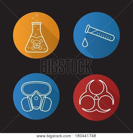 Chemical industry flat linear long shadow icons set. Gas mask, boiling poison liquid, chemical test tube and biohazard danger symbol. Vector line illustration