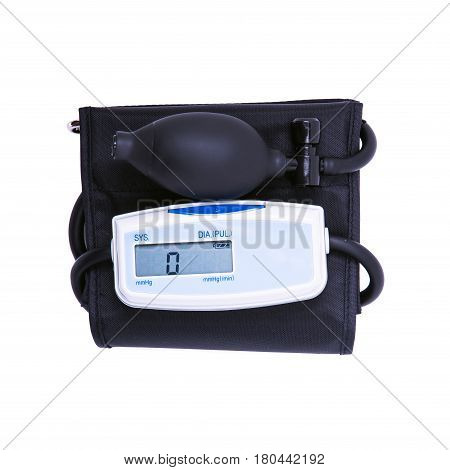 sphygmomanometer measuring blood pressure on white background