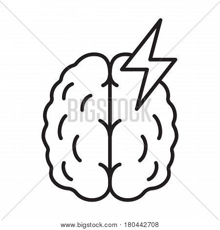 Stroke linear icon. Thin line illustration. Human brain with lightning. Cerebral hemorrhage contour symbol. Vector isolated outline drawing