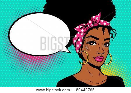 Pop Art Afro American Female Face. Sexy Young Black Woman With Afro Hairstyle In Big Earrings And Em