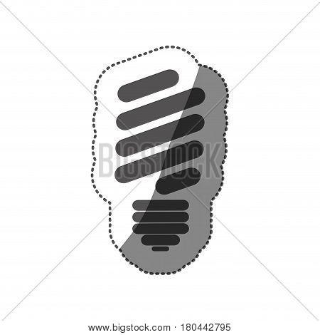 sticker silhouette of fluorescent light bulb vector illustration