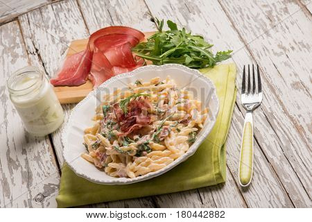 trofie pasta with speck and arugula