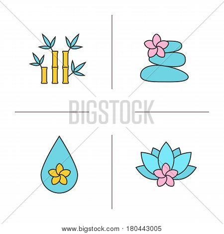 Spa salon color icons set. Aromatherapy. Stones massage, aroma oil drop, spa flowers and bamboo with leaves. Isolated vector illustrations