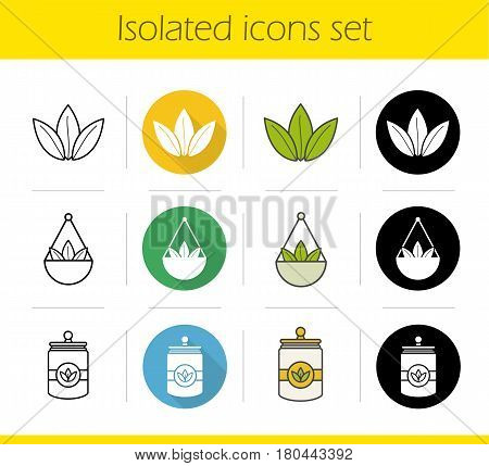 Tea icons set. Flat design, linear, black and color styles. Loose tea leaves in bulk, container. Isolated vector illustrations