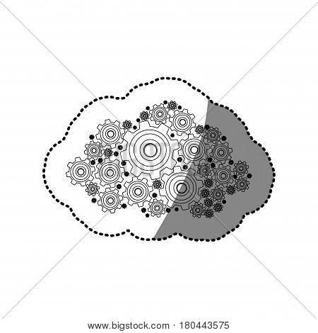 sticker silhouette pinions and gears set collection vector illustration