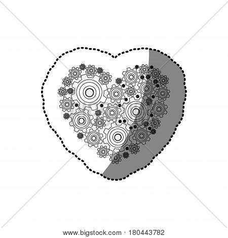 sticker silhouette heart shape with pinions and gears set collection vector illustration