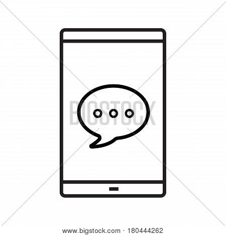 Chat box on smartphone screen linear icon. Sms thin line illustration. Smart phone with dialogue bubble. Texting contour symbol. Vector isolated outline drawing