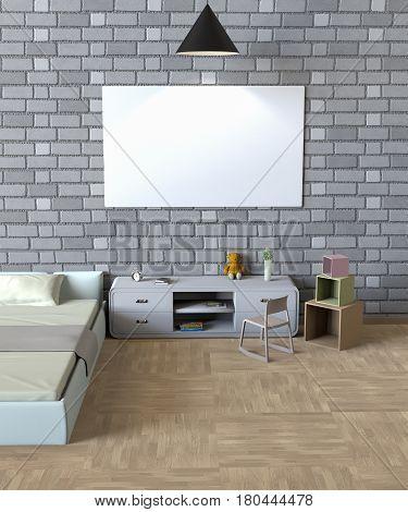 Mock up poster of bedroom. 3D Rendering