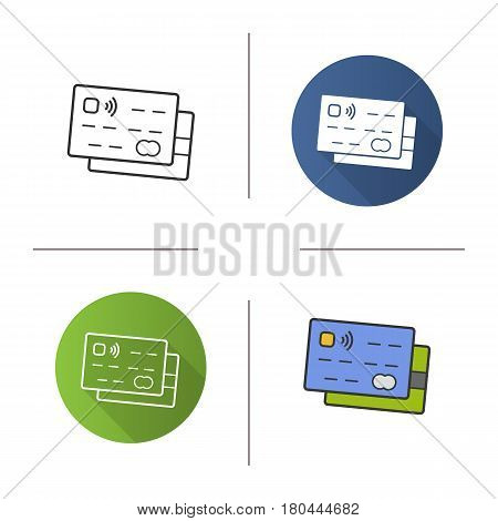 Credit cards icon. Flat design, linear and color styles. Bank debit cards. Isolated vector illustrations