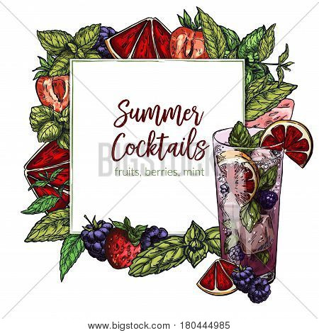 Colorful realistic frame composed of vector berries (strawberry, blackberry) blood orange and lime slices and mint leaf, rectangular frame for text. Blood orange and blackberry mojito.