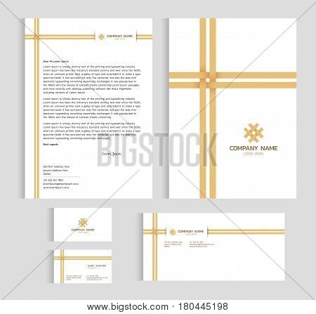 Layout template size A4 cover page business card and letter - Bamboo weaving cross Vector set design