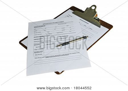 Job Application And Pen On A Clipboard