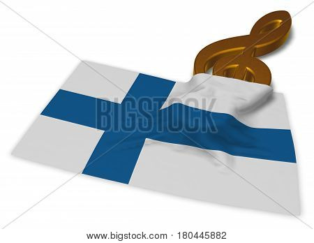 clef symbol and flag of finland - 3d rendering