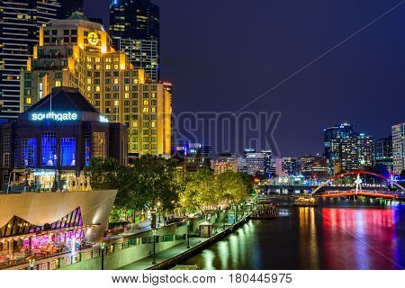 Melbourne Australia - December 27 2016: Melbourne Southbank city lights at night viewed across the Yarra river