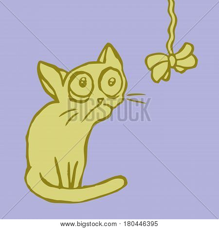 Cartoon strange flat mustard cat sitting and looking. Funny Cool Character. Vector illustration.