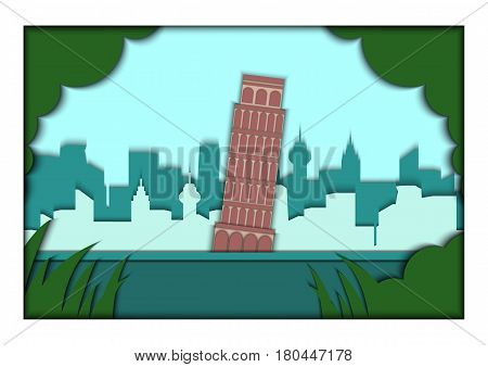 Paper applique style illustration. Card with application of Piza ponorama with Leaning Tower of Pisa, Italy. Postcard