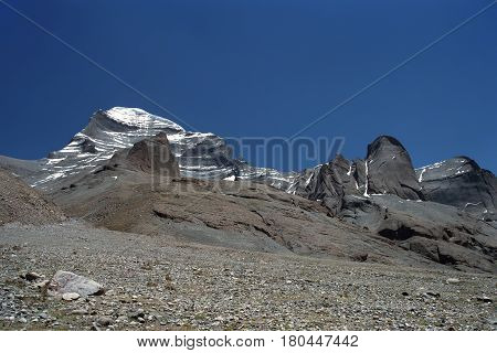 Rocks at the West Face of Sacred Mount Kailash in Western Tibet.