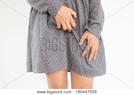 Woman scratch on intimate area, Woman healthcare concept and ideas