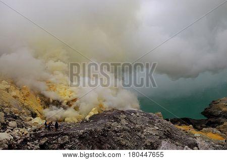 The sulfuric acid cloud on mount Ijen, East Java, Indonesia