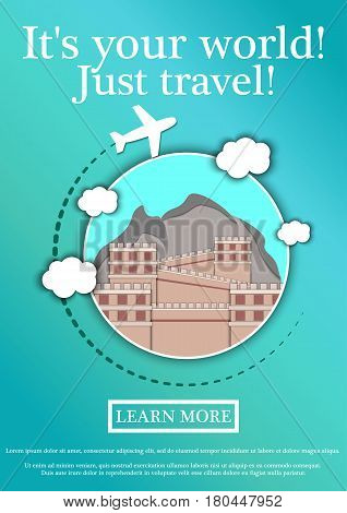 Banner with text Its your world.Just travel. Concept website template.Modern flat design. Vector Illustration.The Great Wall of China