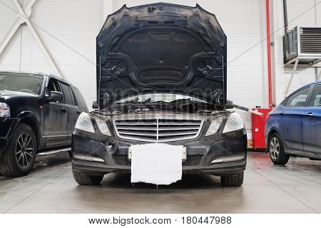 Cars in a car repair station