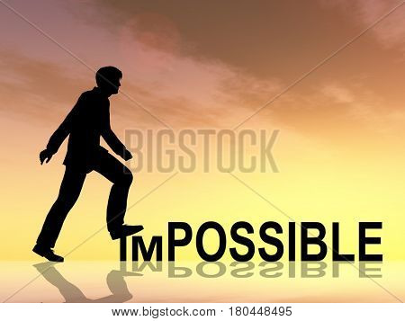 Concept or conceptual 3D illustration human man or businessman black silhouette on impossible or possible text at sunset