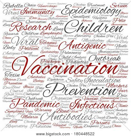 Concept or conceptual children vaccination or viral prevention square word cloud isolated on background