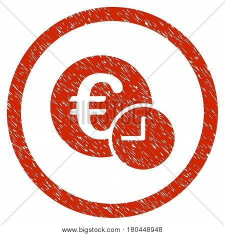 Euro Credit grainy textured icon inside circle for overlay watermark stamps. Flat symbol with unclean texture. Circled dotted vector red ink rubber seal stamp with grunge design on a white background.
