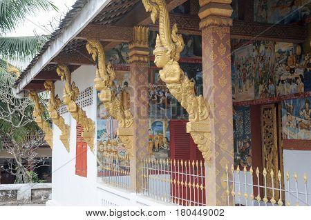 Detail Of Wat Nong Temple In Luang Prabang