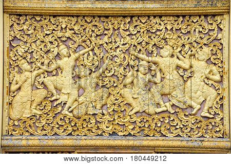 Luang Prabang Laos - 13 January 2012: artwork of Wat Xieng Thong temple in Luang Prabang on Laos
