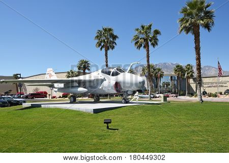 PALM SPRINGS, CALIFORNIA - MARCH 25, 2017: A-6 Intruder at the  Palm Springs Air Museum, Palm Springs, California, USA