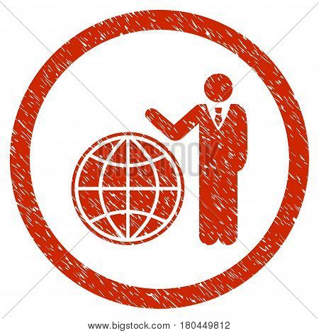 Global Manager grainy textured icon inside circle for overlay watermark stamps. Flat symbol with dust texture. Circled dotted vector red ink rubber seal stamp with grunge design on a white background.
