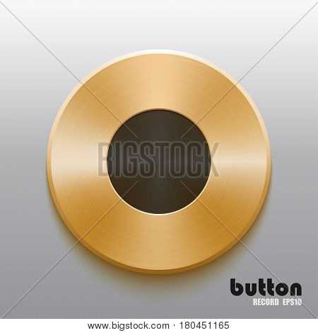 Round record button with black symbol and brushed golden metal texture isolated on gray background