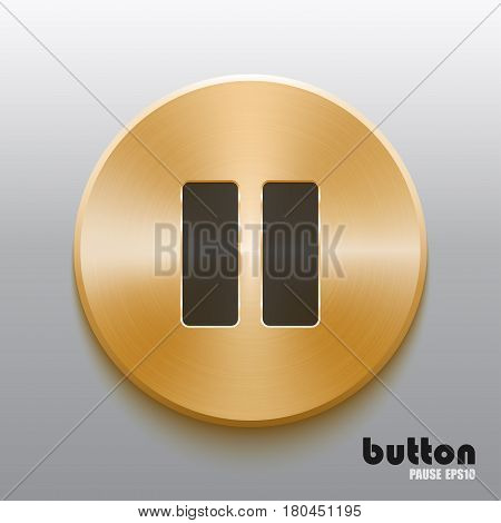 Round pause button with black symbol and brushed golden metal texture isolated on gray background