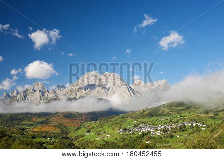 Mountains in Lescun Cirque, Aspe Valley, in the foreground you can see the Lescun village. Pyrenees, France.
