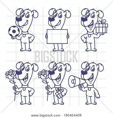 Sketch Set Character Dog Holding Ball Paper Flower Gift Megaphone