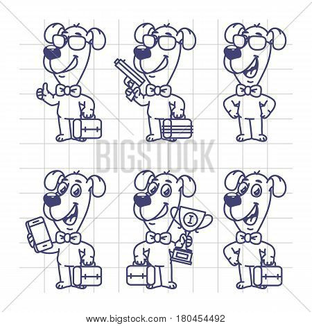 Sketch Set Characters Dog Businessman Holding Suitcase Cup Phone Gun