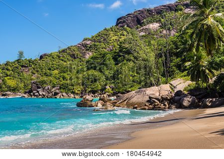 Anse Mayor is a wonderful hard-to-reach beach on the North-West side of Mahe Island Seychelles.