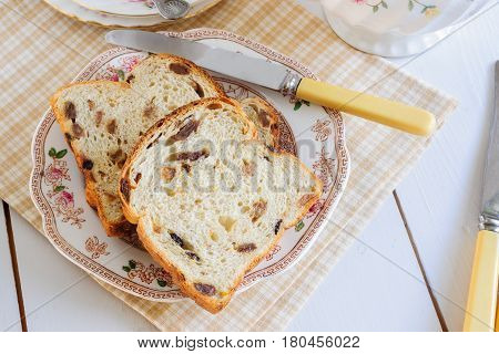 Bara Brith or Speckled Bread a traditional Welsh fruit loaf made with sultanas or raisins soaked in tea