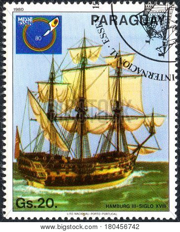 UKRAINE - CIRCA 2017: A postage stamp printed in Paraguai shows Stamp Exhibition Essen 1980 ship Hamburg III from the series International stamps exhibitions: ship paintings circa 1980