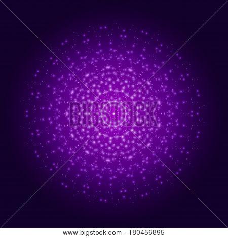 Purple light mandala. Abstract vector sacred ornament