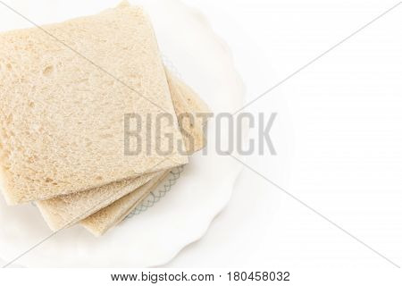 White Sandwich Bread Slices On Plate, On White Background.