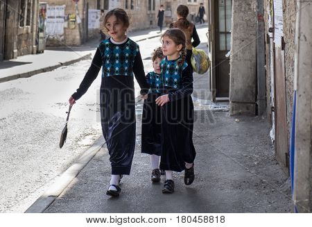 Orthodox Jewish Girls Walk In Jewish .quarter. Jerusalem. Israel
