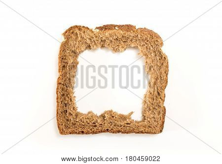 Whole Grain Sandwich Bread Slice With Hole, On White Background.