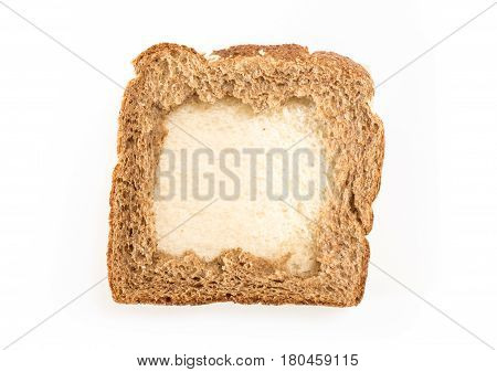 Sandwich Bread Slices With Hole, On White Background.