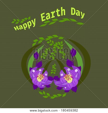 Happy Earth Day hand lettering card, background. Vector illustration with leaves for banner, poster.Holiday
