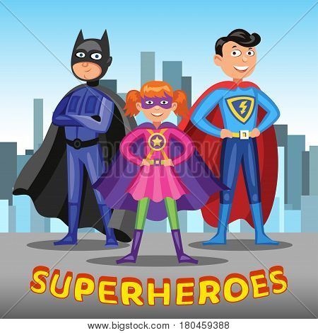 Three cartoon superheroes. Boys and girl in colorful superhero costumes on city background. Vector illustration