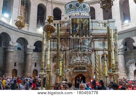 Pilgrims At Stone Rotunda And Aedicule In Holy Sepulchre Church In Jerusalem. Israel